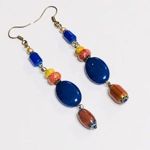 Antique Brass Agate Jasper & Mookaite Earrings